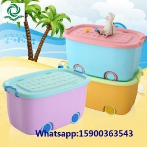 Children′s Bedroom Plastic Toy Box Storage Box with Wheels pictures & photos