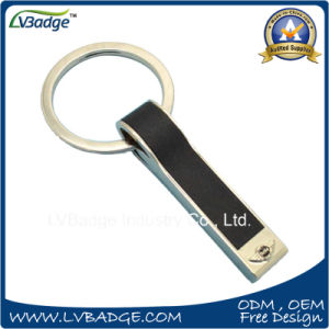 High Quality Black Leather Key Chain with Laser Logo pictures & photos