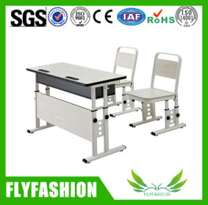 Wood School Furniture Classroom Study Double Desk with Chair (SF-08D) pictures & photos