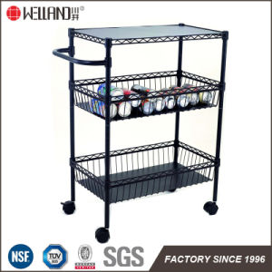 Adjustable Epoxy Black Metal Kitchen Dining Cart (CJ-B1121) pictures & photos