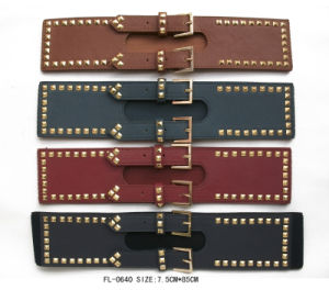 Pyramids Elastic Belt with Double Gold Buckle (FL-0640)