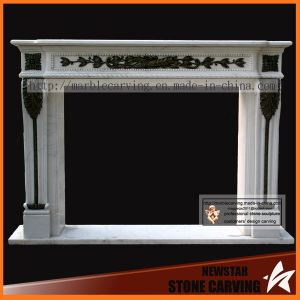 Natural White Carrara Marble Fireplace Surround with Lions Carving pictures & photos