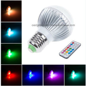 3W E27 RGB Colored LED Spot Lightings with 21 Keys Remote Controller 5-12m pictures & photos