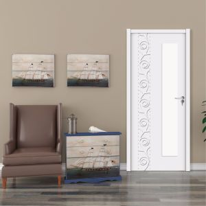 Wood Plastic Composite WPC Security Painting Door for Bedroom (YMB-002) pictures & photos