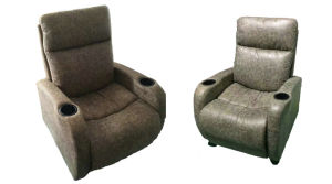 L Shape Small Size Recliner Leather Sofa for Korea Market (G17316) pictures & photos