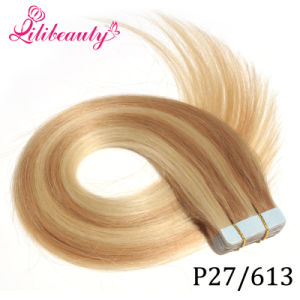 Skin PU Adhesive Tape Hair Weft Indian Remy Human Hair Extensions pictures & photos