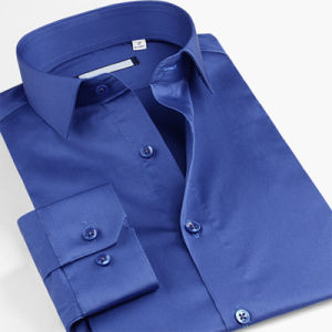 OEM Blue Banded Collar Tuxedo Shirts Mandarin Collar Man Shirts pictures & photos