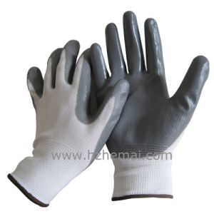 Cheap 13G Polyster Nitrile Coated Hand Safety Working Gloves pictures & photos