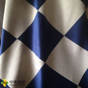 Big Grid Blue White Yard Dyed Polyester Blackout Curtain Fabric Home Textile