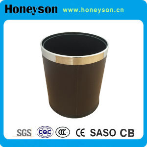 Hotel Plastic Trash Bin with PU Leather Finish pictures & photos