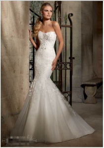 2015 Mermaid Crystal Beaded Lace Bridal Wedding Dress 2707 pictures & photos