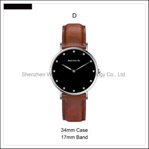 Simple Fashion Stainless Steel Case Couple Leather Strap Watches Nato D Style Wrist Watch pictures & photos