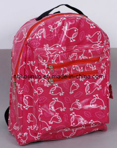 Hot Sale Waterproof Printed Durable Cotton PVC Backpack Bag with Zipper and Pockets, School Bag