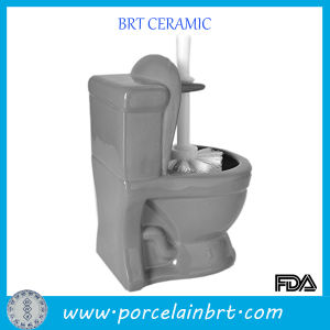 Unique Decorative Toilet Bowl Shape Ceramic Brush Holder pictures & photos