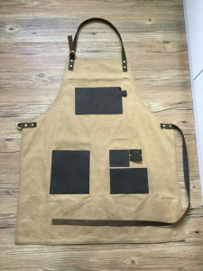 Custom Waterproof Unisex Waxed Canvas Work Apron with Genuine Leather Straps pictures & photos