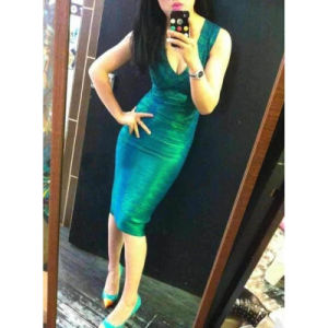 Fashion Knitted V Neck Bodycon Dresses pictures & photos