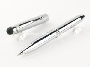 All Silver Roller Touch Ball Point Pen with LED Light