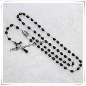 Wooden Rosary with Black Oval Beads and Cross Item (IO-cr018) pictures & photos