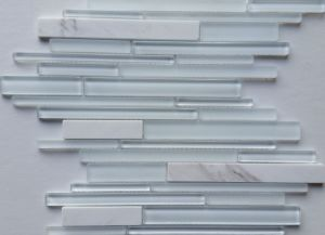 Glass Tile White Mix with Stone Back Splash Wall Pool Bathroom Bolero Design pictures & photos