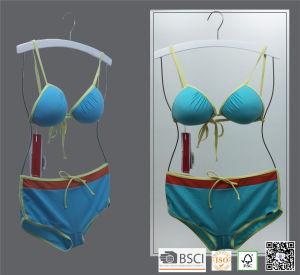 White Wooden Chrome Wire Swimwear Hanger for Bikini pictures & photos