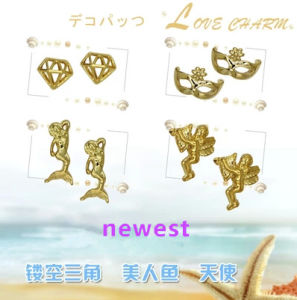 Fashion Gold Plated 3D Alloy Nail Art Mask Design