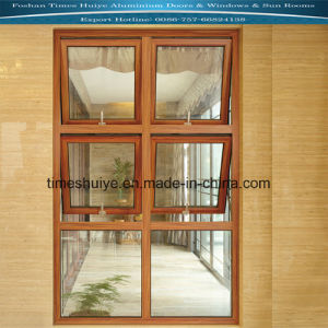 Sandalwood Colour Aluminium Top Hung Window with Double-Layer Glasses pictures & photos