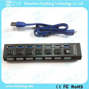 7 Switches 7 Port USB Hub 3.0 with LED (ZYF4106) pictures & photos