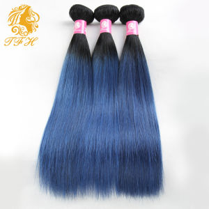 Brazilian Virgin Ombre Grey Hair Weave 3PCS/Lot Omber Blue Hair Extensions #1b/Blue Hair Extensions Brazilian Straight Hair pictures & photos