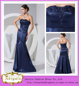 Best Selling Floor Length Scoop Neck Mermaid Midnight Blue Evening Dress (WD49)