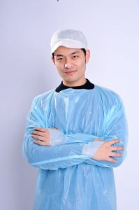 Blue CPE Isolation Gowns with Thumb up pictures & photos