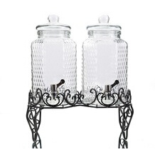 6L Glass Drink Dispenser with Beautifun Iron Base pictures & photos