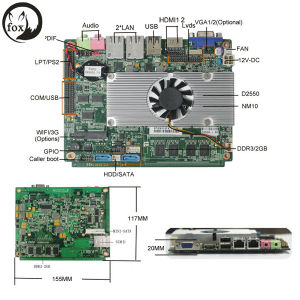 3.5inch Embedded Motherboard with D2550/N2600/D2700/D2800 Processor and 2GB RAM Onboard for Thin Client pictures & photos