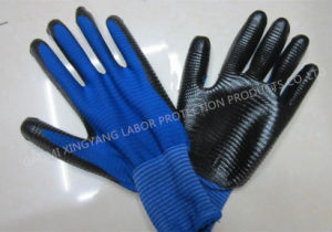 Zebra Stripe Natrile Coated Glove Labor Protective Safety Work Gloves (N6026) pictures & photos