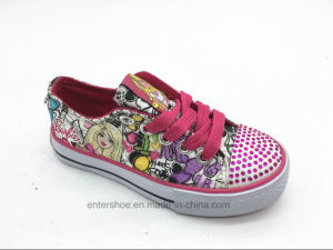 Lace up Fashion Kids Footwear with Crystals Toe (ET-LH160269K)
