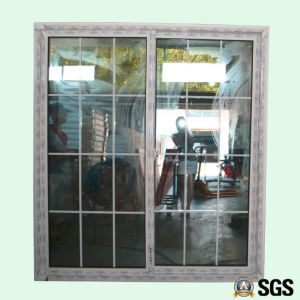Good Quality Double Glass with Grid White Colour UPVC Profile Sliding Door, Door, Window K02084 pictures & photos