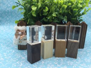 New Arrival OEM Gift Wooden Crystal USB Flash Drive with LED Light pictures & photos