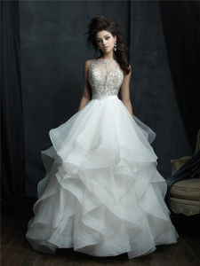 Boat Neckline Bridal Ball Gowns Beaded Puffy Organza Wedding Dress 2018 Lb1829 pictures & photos