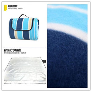 Cyan Blue Stripes Microfiber Picnic Blanket pictures & photos