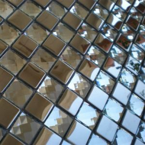 Metal and Glass Mix Random Wallpaper Kitchen Backsplash Tile Clear Crystal Glass Mosaics Bathroom Wall Sticker Shower Hotels pictures & photos