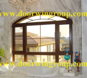 Oak/Cherry Wood Aluminum Casement Window for Villa pictures & photos