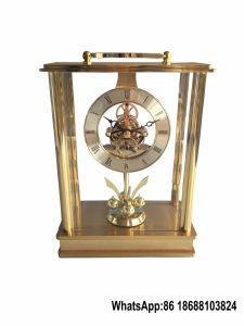 Rotating Pendulum Lantern Skeleton Mantel Clock