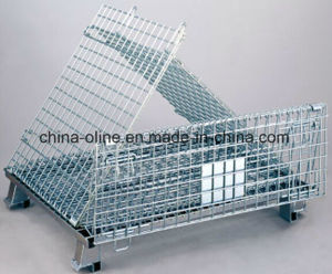 Stackable Folded Wire Mesh Contatiner Storage Cage (1000*800*840) pictures & photos