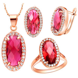 Fashion Jewelry Gold Plated 925 Silver Jewelry Set Ruby Stone pictures & photos