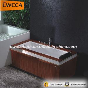 Freestanding Massage Bathtub with Wood Skirt Panel (EW2001B)