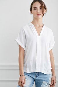 Fashion Casual Style Sheer Pintucked-Front Women Blouse pictures & photos