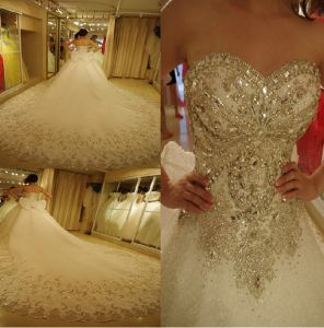 Rhinestones Wedding Dresses A-Line Strapless Crystals Bridal Ball Gown W14415 pictures & photos