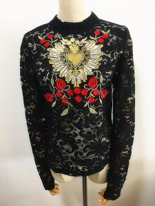 Women Long Sleeve T-Shirt Fashion Clothes Lace Embroidery pictures & photos