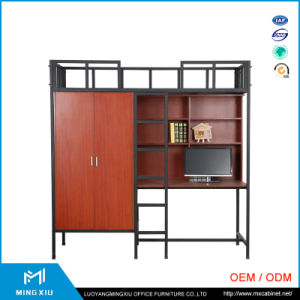 Mingxiu School Equipment Bunk Bed with Locker / Metal Bunk Bed with Desk pictures & photos