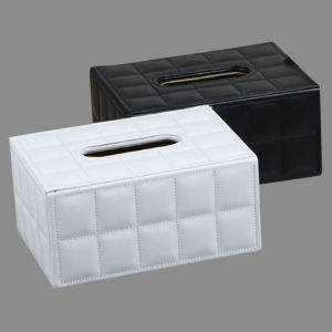 Black / White Stitched Grid Leather Tissue Paper Boxes pictures & photos