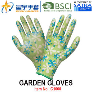 Garden Gloves, Printing Polyestershell Transparent Nitrile Coated Smooth Finish, Work Gloves (G1000) with CE, En388, En420 pictures & photos